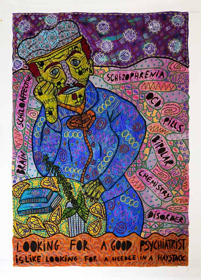 """""""Looking for a good psychiatrist is like looking for a needle in a haystack"""" , 2017   Acrylic paint and Posca marker on linen, 160 x 190 cm"""