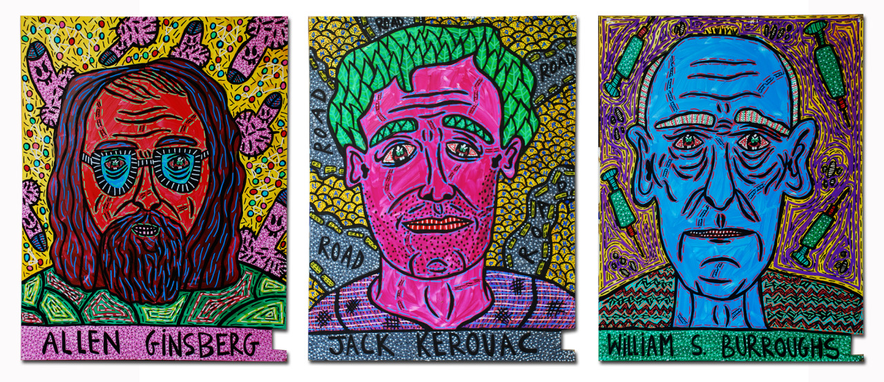"""""""Allen Ginsberg, Jack Kerouac and William S. Burroughs"""" , 2014   Acrylic paint and Posca marker on wood, 60 x 75 cm"""