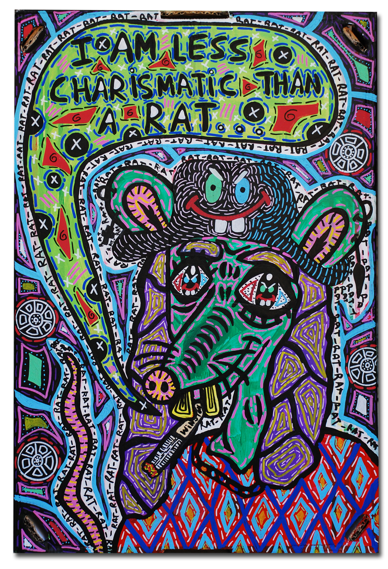 """""""I am less charismatic than a rat..."""" , 2014   Acrylic paint and Posca marker on cardboard, 50 x 60 cm"""