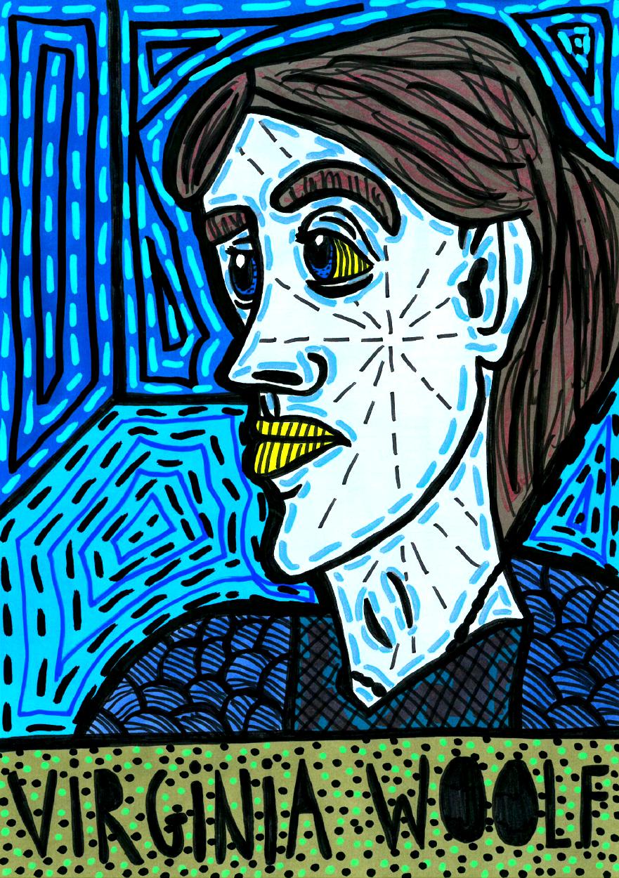 """Virginia Woolf"" , 2014   Marker on paper, 21 x 29.7 cm"