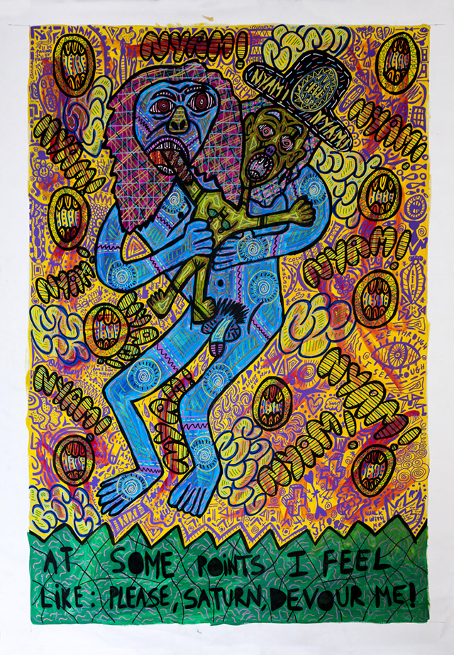 """""""At some points I feel like Please, Saturn, Devour me!"""" , 2017   Acrylic paint and Posca marker on linen, 160 x 190 cm"""