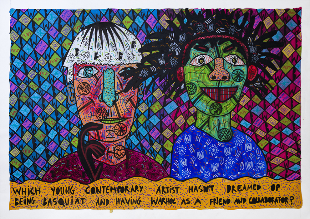 """""""Which young contemporary artist hasn't dreamed about being Basquiat and having Warhol as a friend and collaborator?"""" , 2017   Acrylic paint and Posca marker on linen, 190 x 160 cm"""