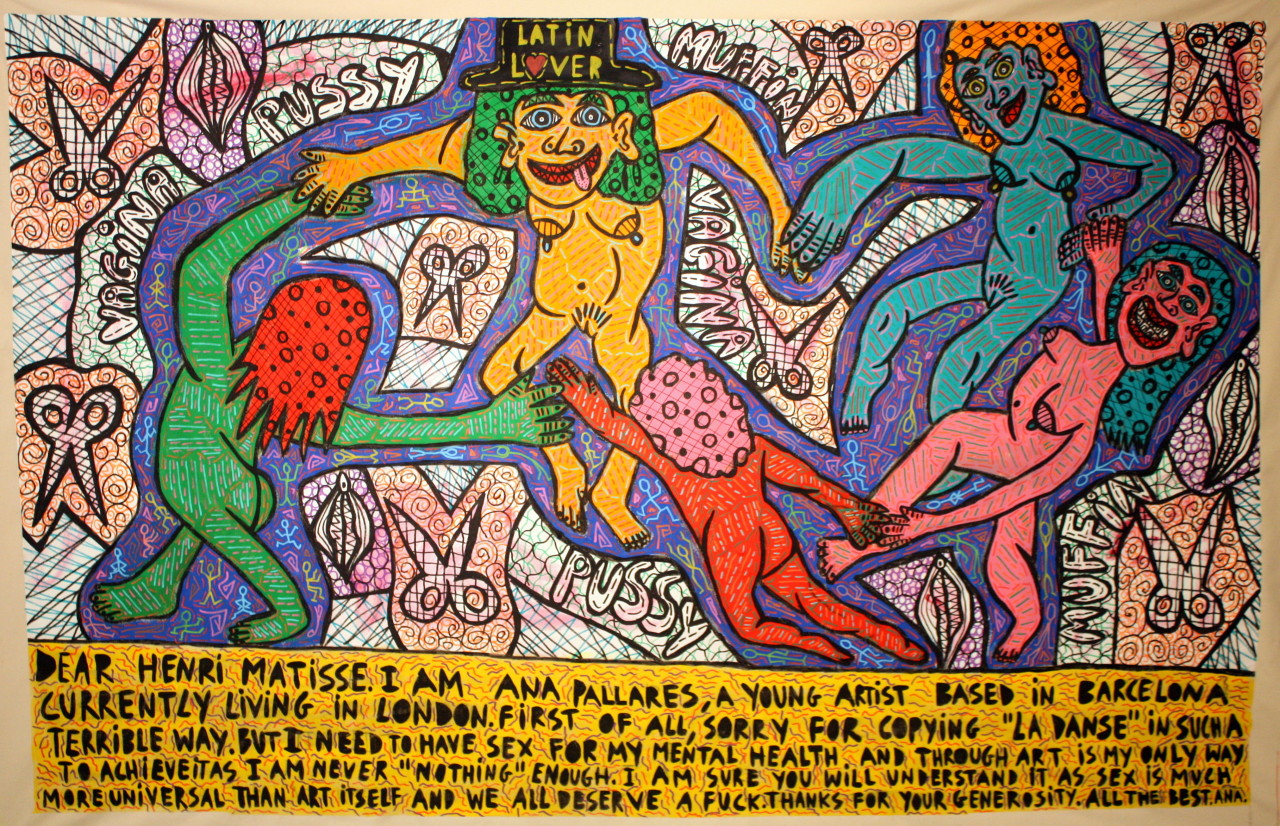 """""""Letter to Herni Matisse"""" , 2016   Acrylic paint and Posca marker on canvas, 200 x 180 cm"""