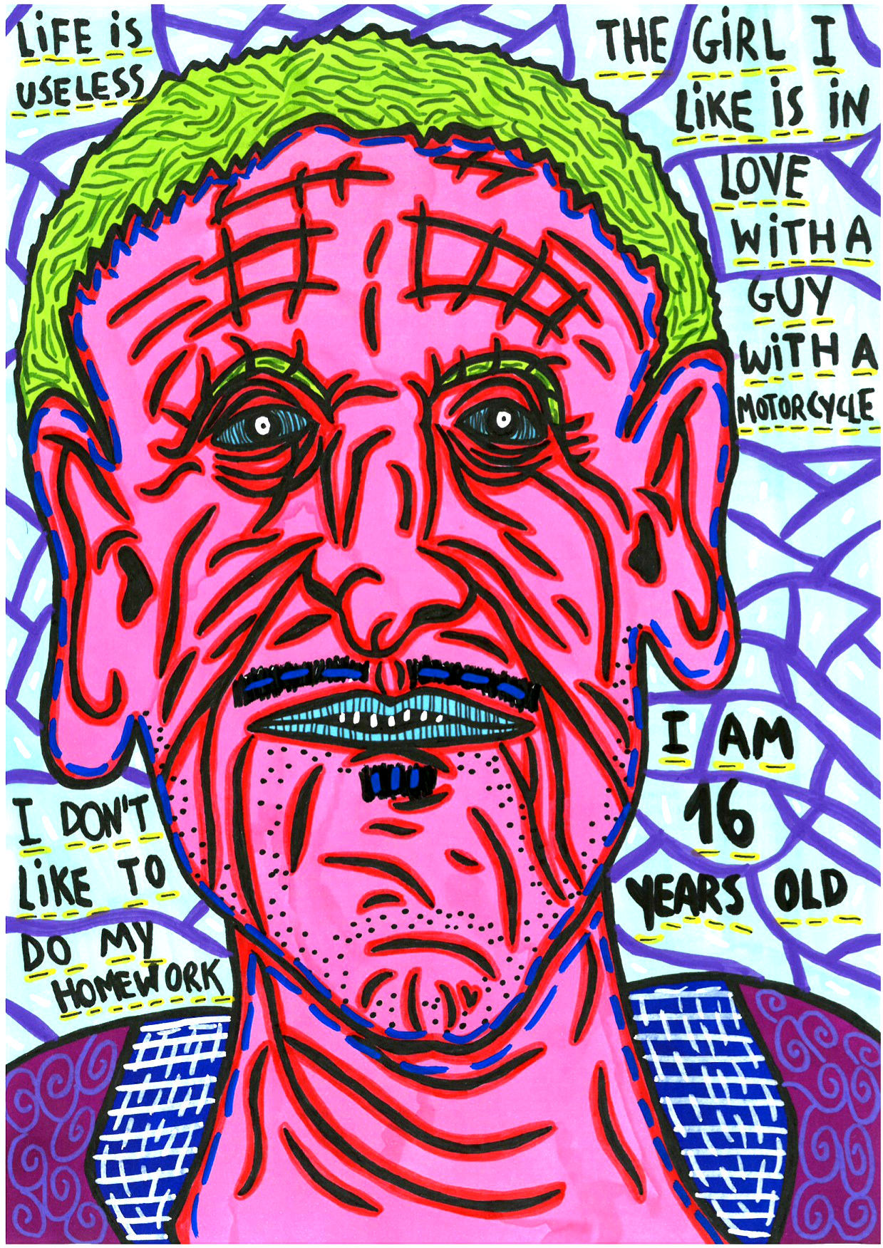 """""""I am sixteen years old"""" , 2014   Marker on paper, 21 x 29.7 cm"""