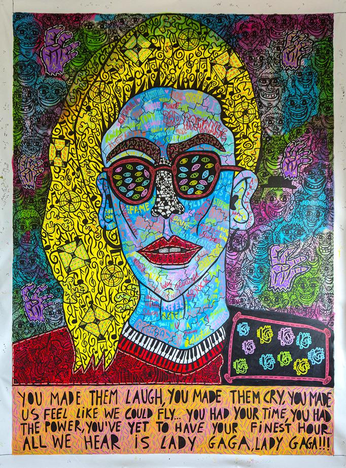 """Lady Gaga"" , 2016   Acrylic paint and Posca marker on linen, 190 x 260 cm"