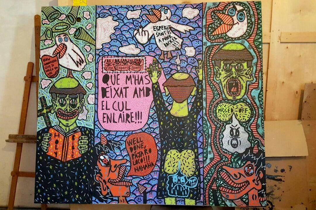 """""""The Garden of Earthly Delights"""" , 2014   Acrylic paint and Posca marker on cardboard, 170 x 160 cm"""