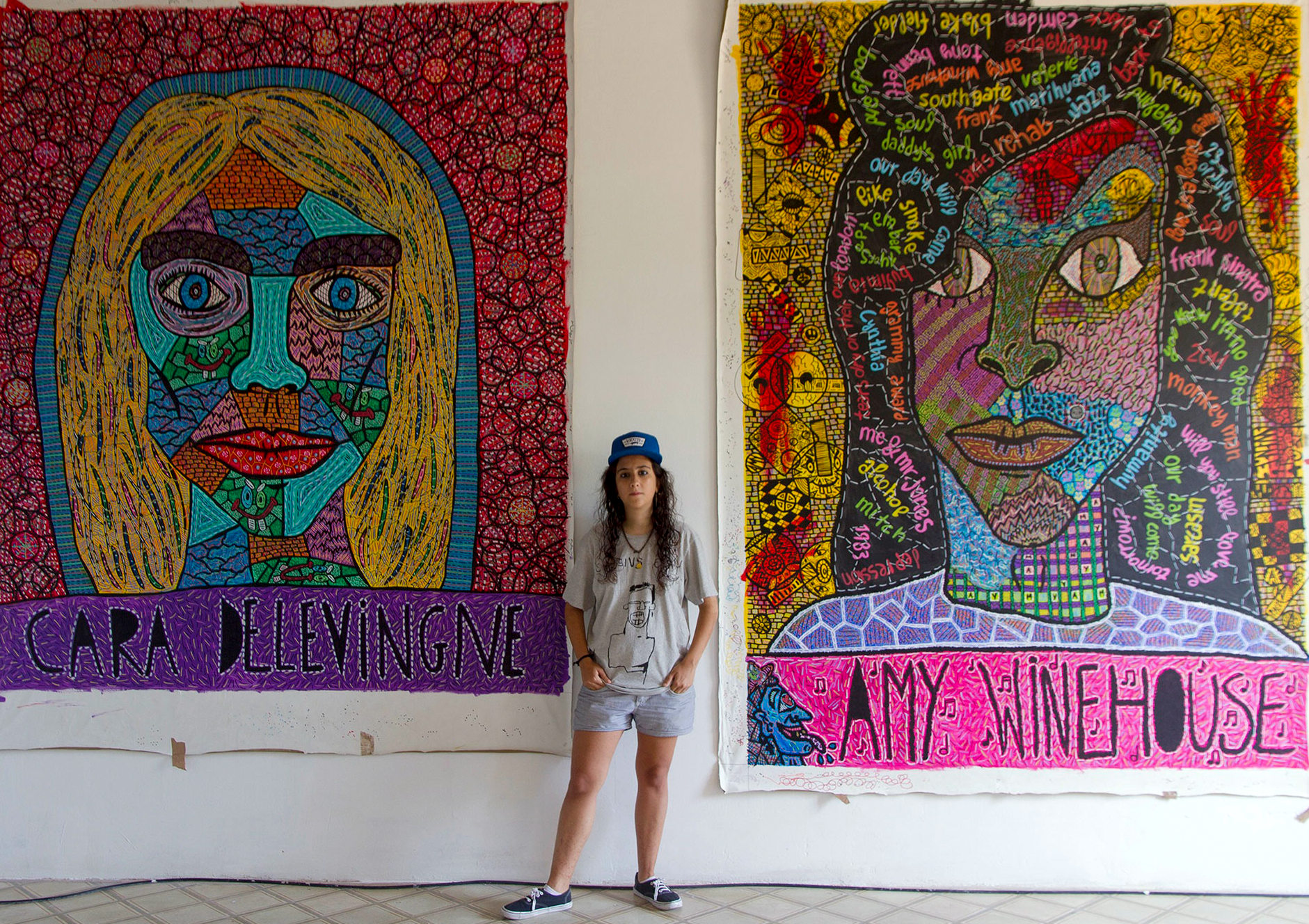 """Portraits  """"Cara Delevingne""""  and  """"Amy Winehouse""""  of Gallery Barcelona, 2015"""