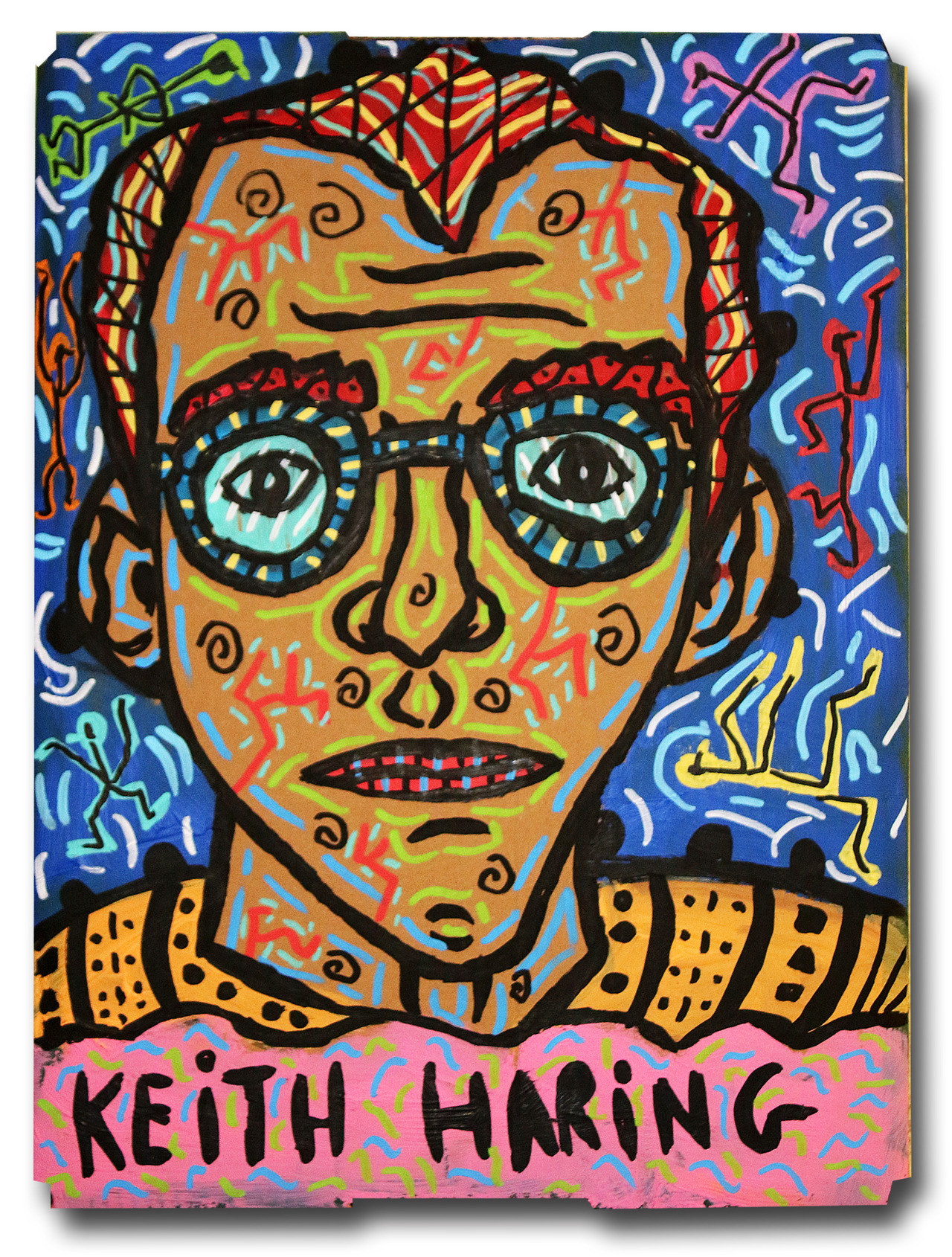 """""""Keith Haring"""" , 2018   Acrylic paint and Posca marker on cardboard, 30 x 40 cm"""