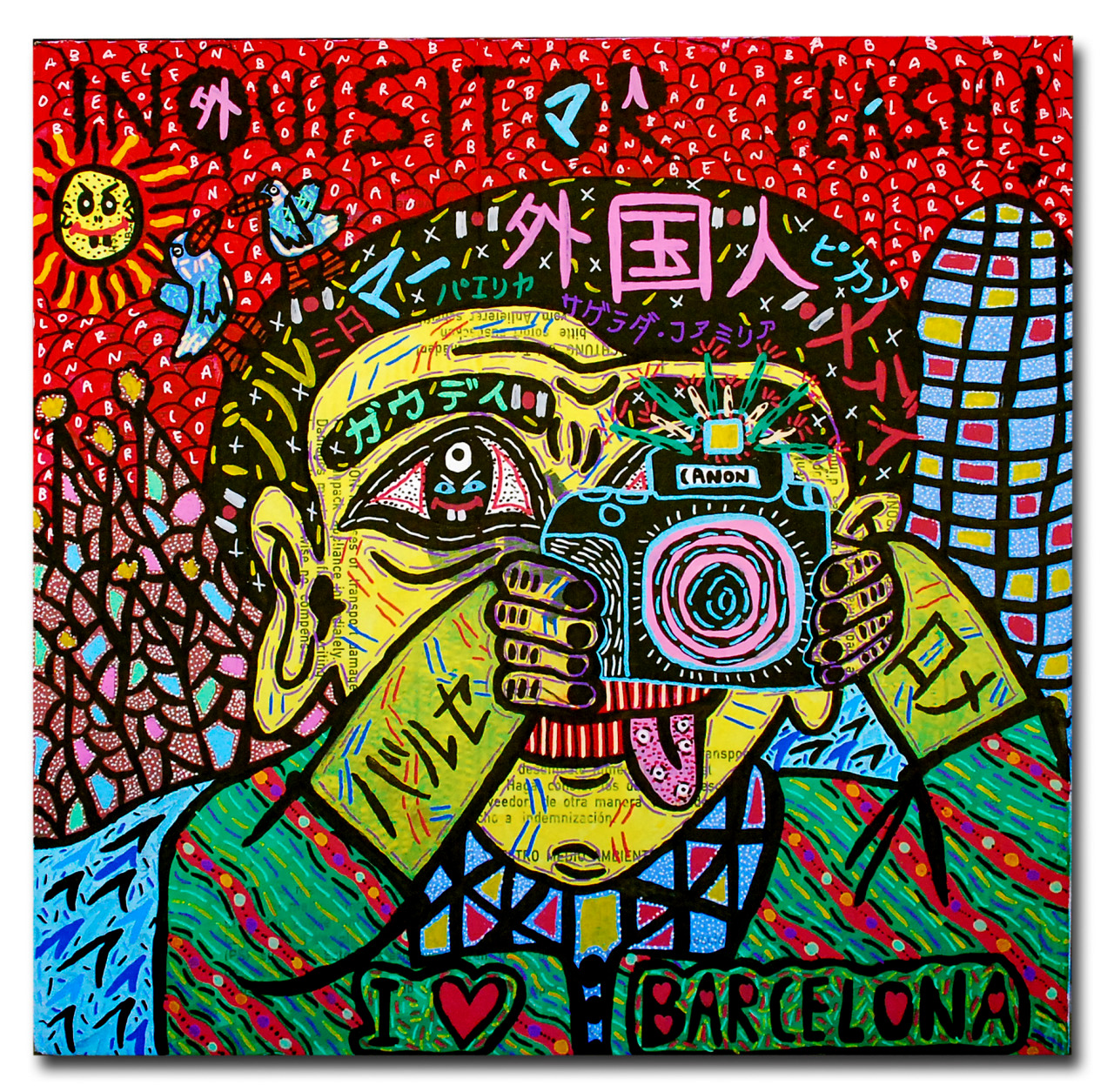 """""""Inquisitor flash!"""" , 2014   Acrylic paint and Posca marker, 60 x 60 cm"""
