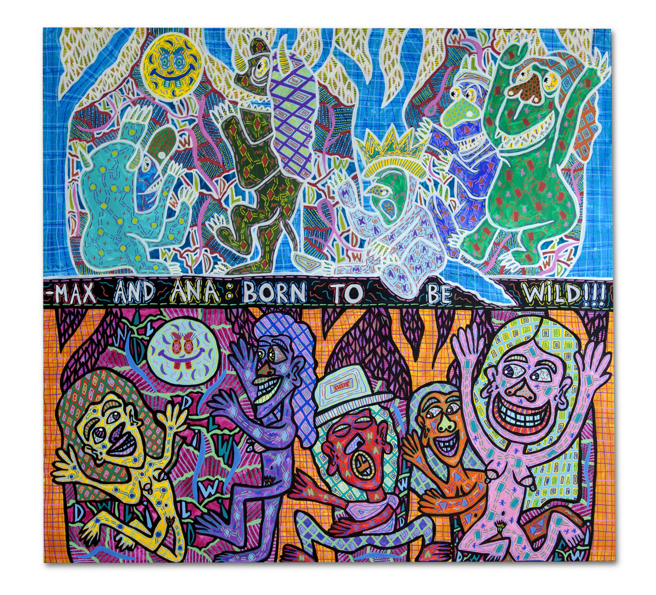 """""""Born to be wild!"""" , 2016   Acrylic paint and Posca marker on linen, 200 x 200 cm"""