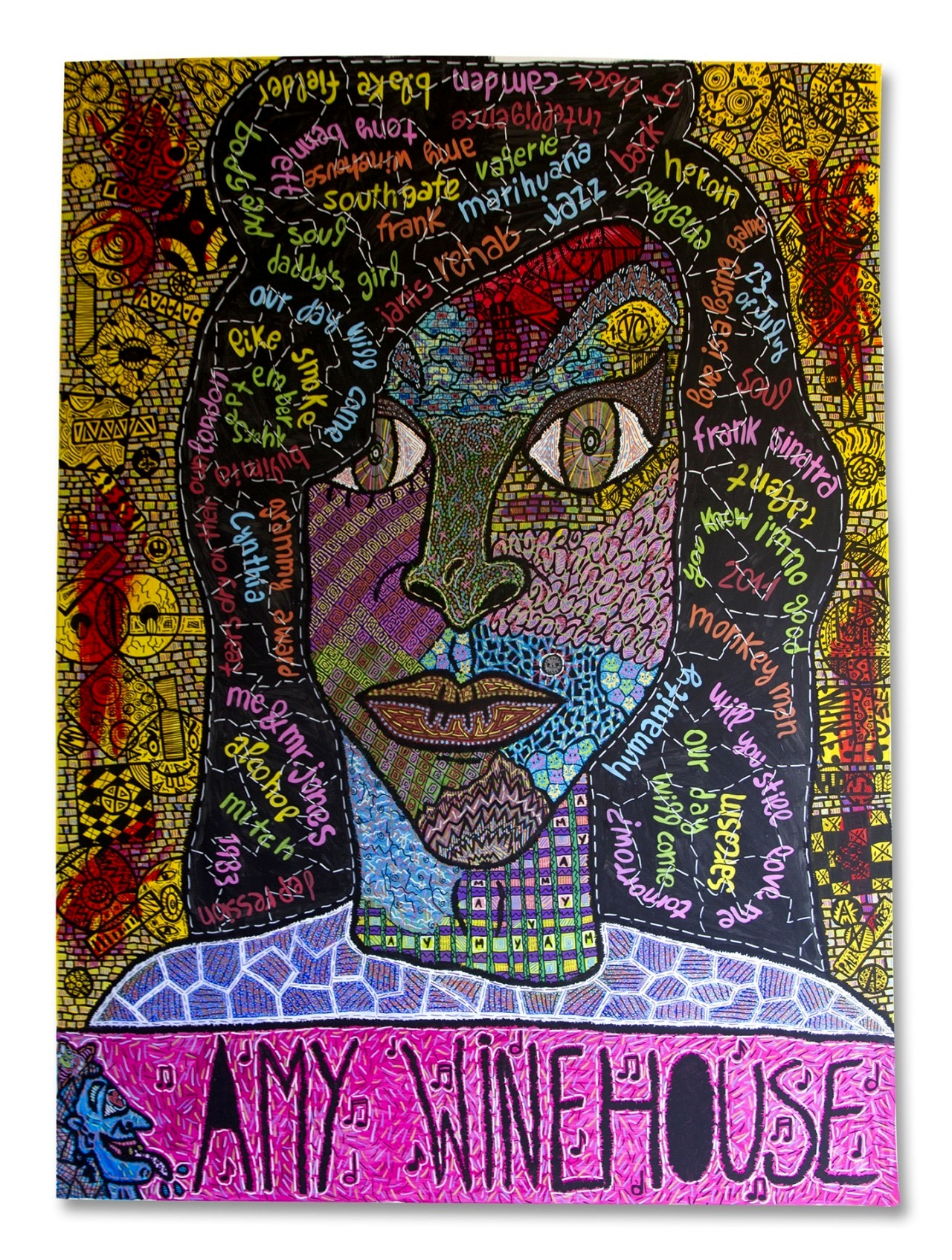 """Amy Winehouse"" , 2015   Acrylic paint and Posca marker on linen 190 x 263 cm"