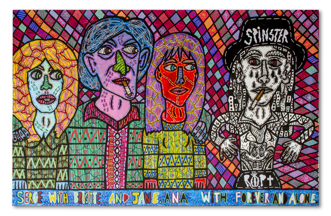 """""""Serge with Brigitte and Jane. Ana with Forever and Alone"""" , 2016   Acrylic paint and Posca marker on linen, 200 x 150 cm"""