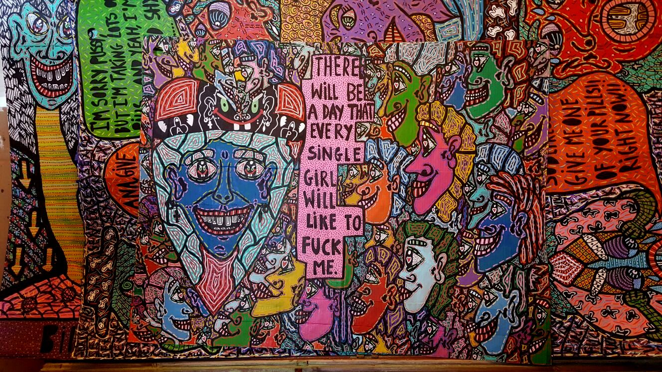 """""""There will be a day that every single girl will like to fuck me"""" , 2014   Acrylic paint and Posca marker on cardboard, 175 x 150 cm"""