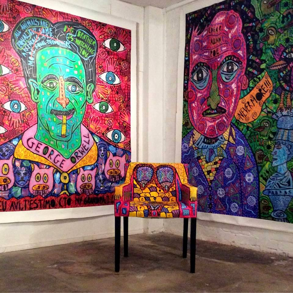 """""""George Orwell"""" ,  """"Edgar Allan Poe""""  and  """"The chair""""  at Hundred Years Gallery, 2018"""