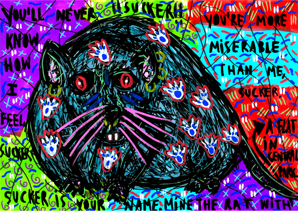 """""""The rat"""" , 2014   Marker on paper, 29.7 x 21 cm Private Collection"""
