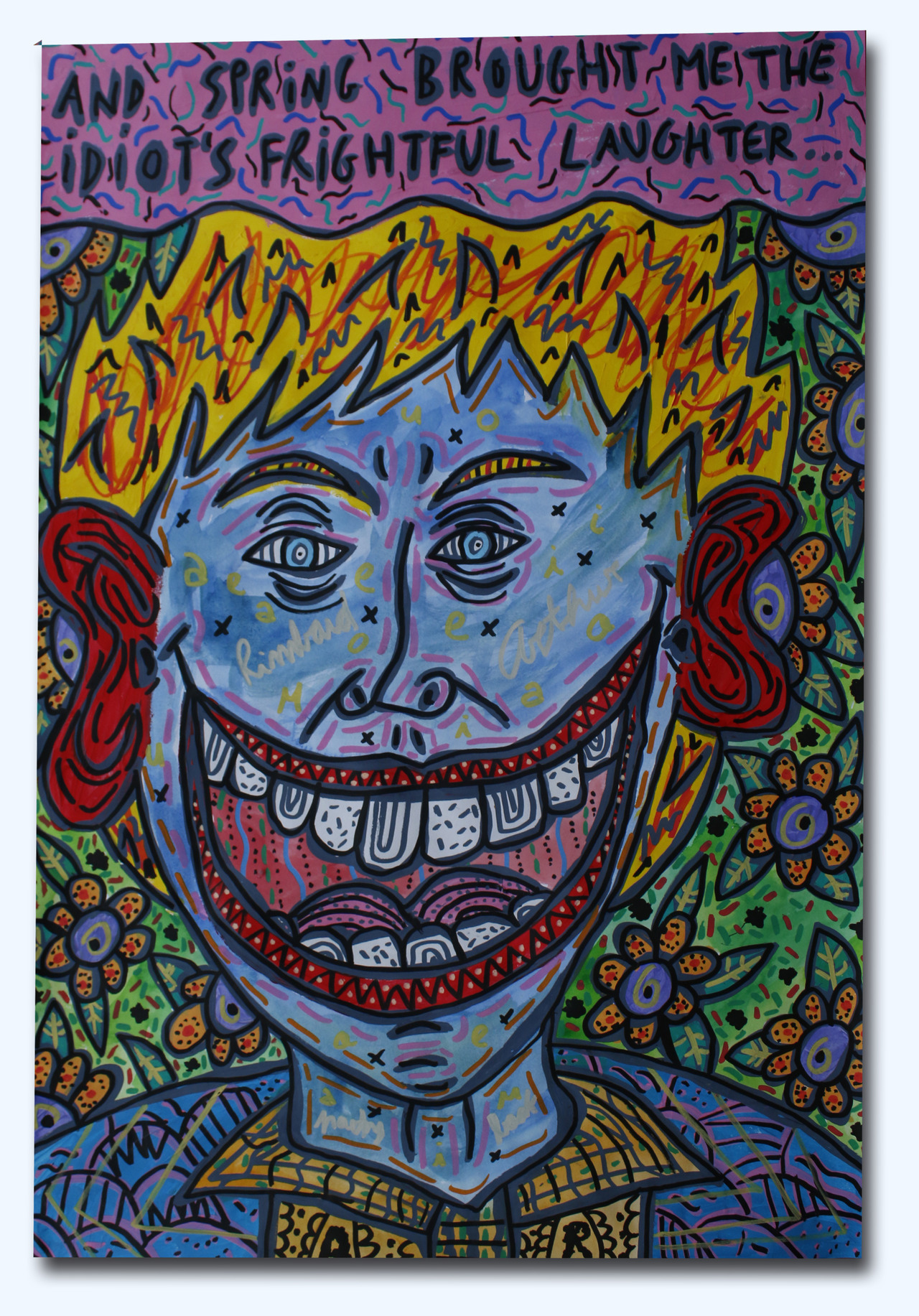 """""""And spring brought me the idiot's frightful laughter"""" , 2018   Acrylic and watercoulour paint and Posca marker on paper, 42 x 59.4 cm Private Collection"""
