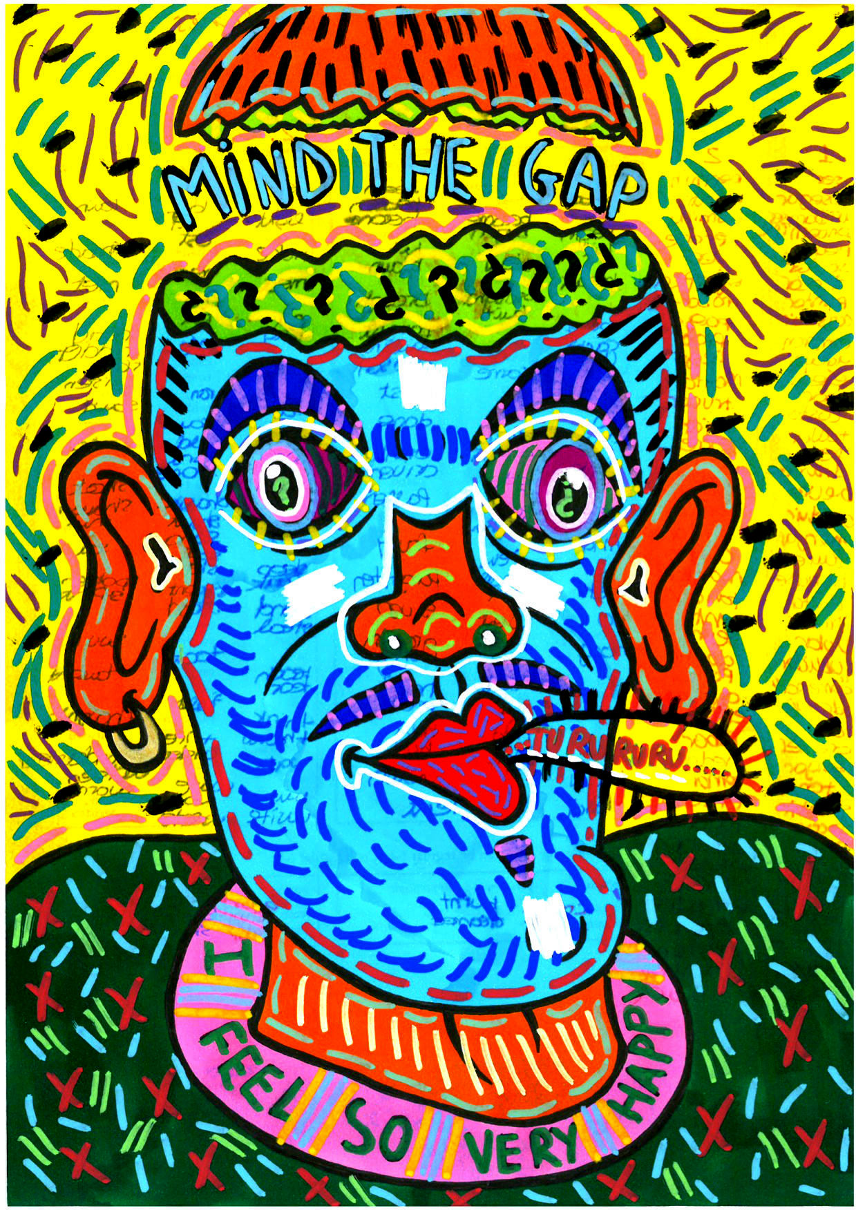 """""""Mind the gap"""" , 2014   Marker on paper, 21 x 29.7 cm Private Collection"""