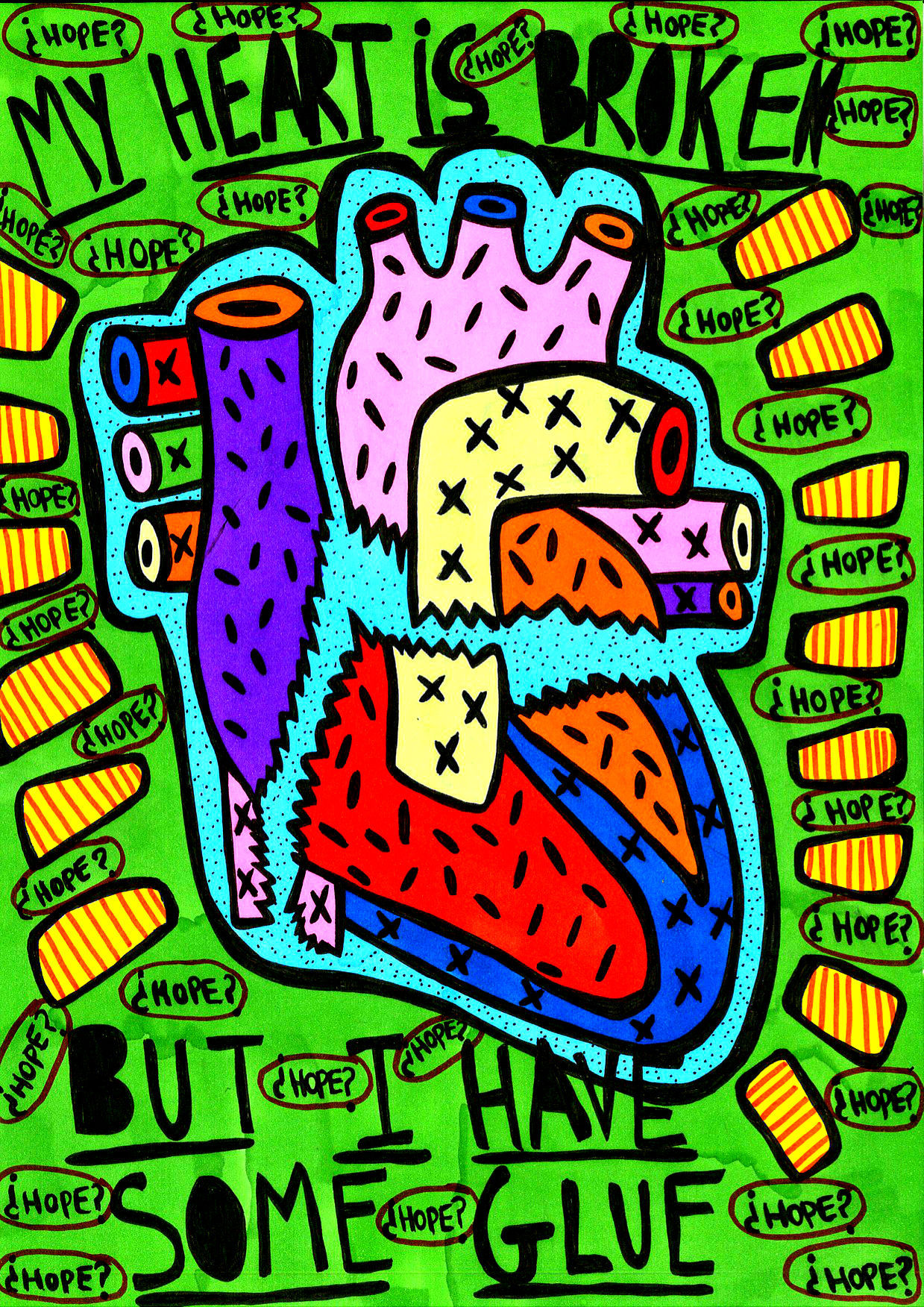 """""""My heart is broke but I have some glue"""" , 2013   Marker on paper, 21 x 29.7 cm Private Collection"""