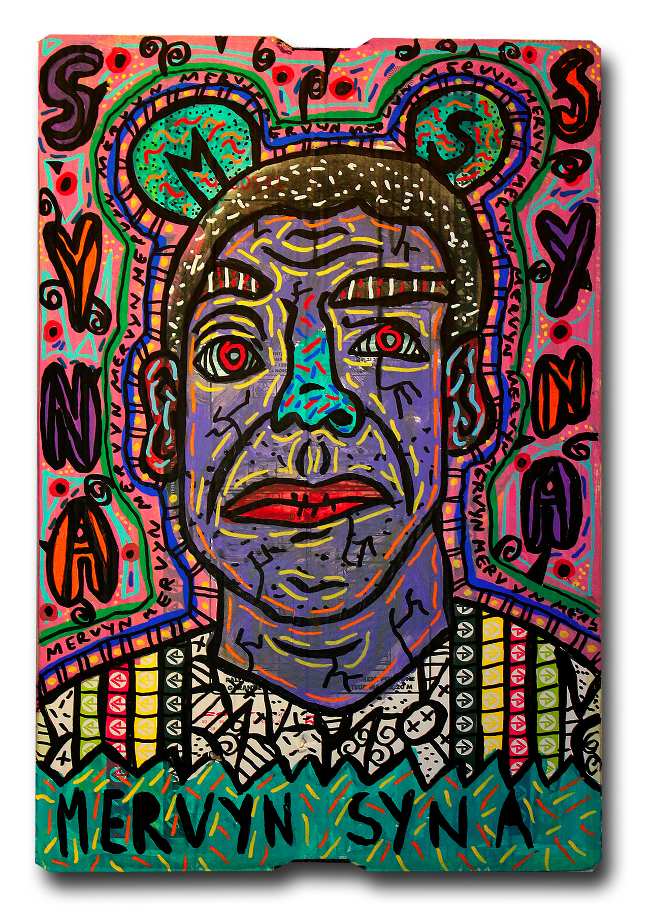 """""""Mervyn Syna"""" , 2018   Acrylic and Posca marker on cardboard, 30 x 70 cm Private Collection"""