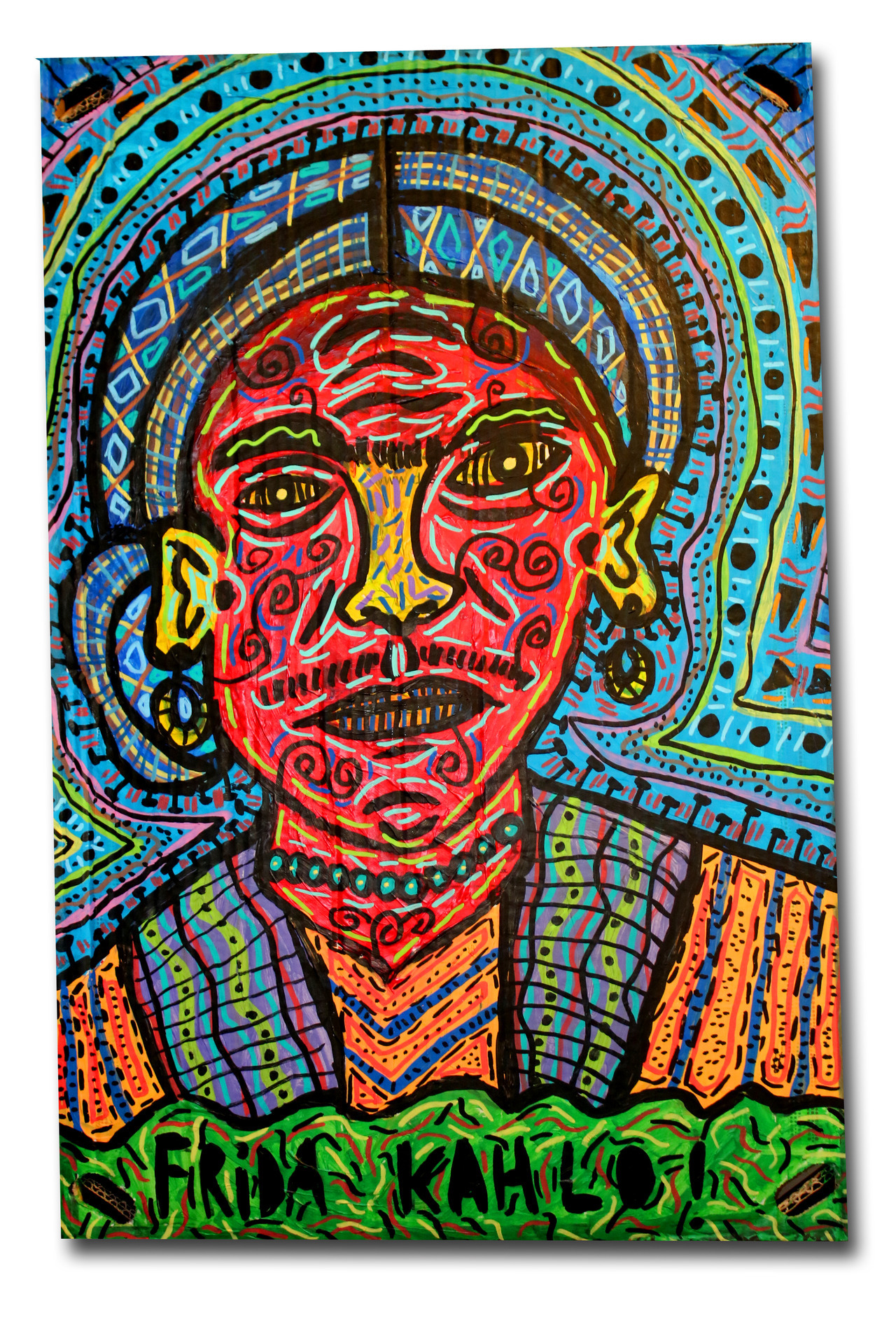 """""""Frida Kahlo"""" , 2018   Acrylic paint and Posca marker on cardboard, 30 x 70 cm Private Collection"""