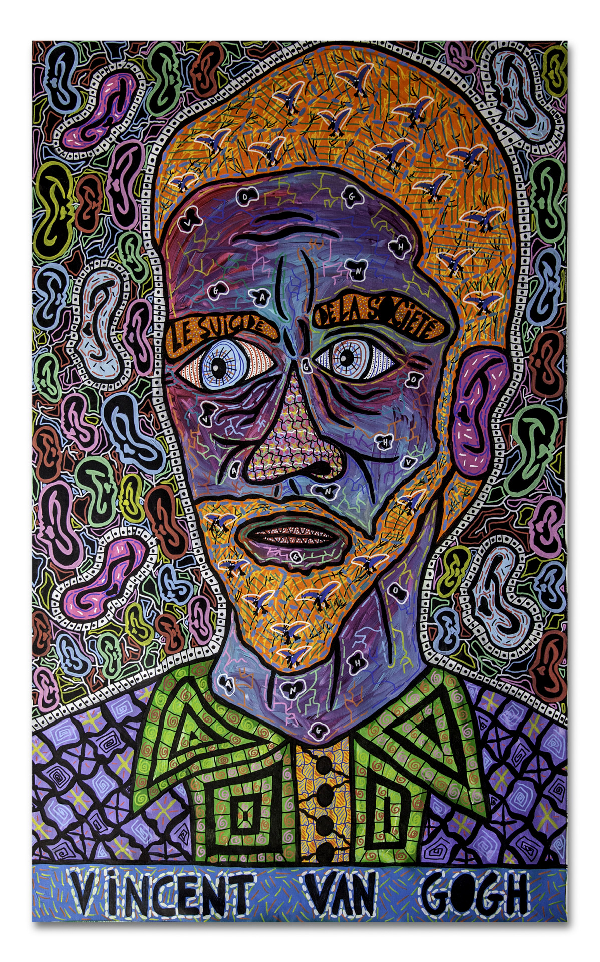 """""""Vincent Van Gogh"""" , 2016   Acrylic paint and Posca marker on cardboard, 140 x 195 cm Private Collection"""