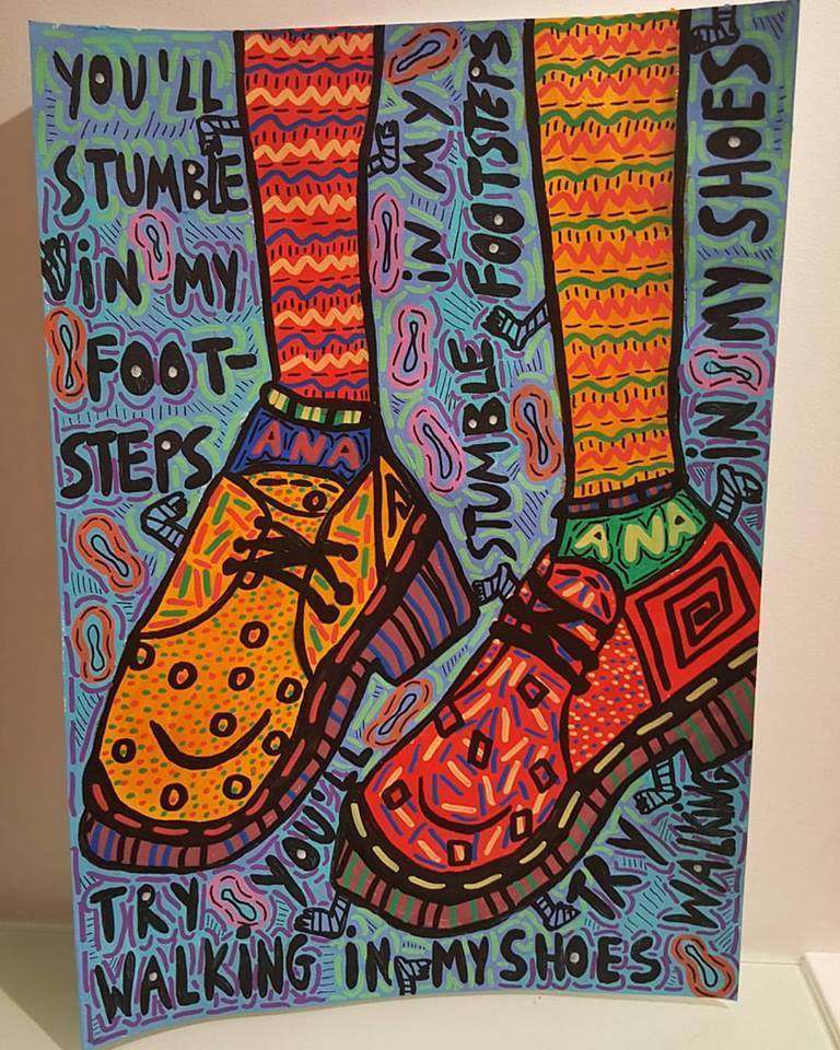 """""""Try walking in my shoes, you'll stumble in my footsteps"""" , 2016   Acrylic paint and Posca marker on paper, 29.7 x 42 cm Private Collection"""