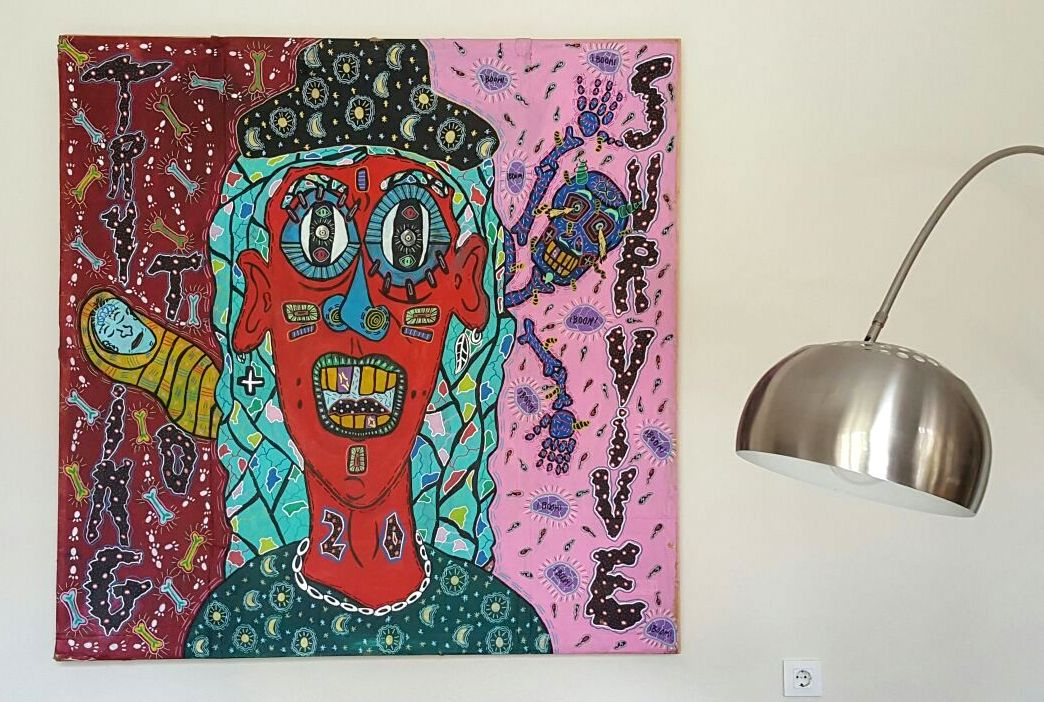 """""""Trying to survive"""" , 2013   Acrylic paint and Posca marker on cardboard, 170 x 170 cm Private Collection"""