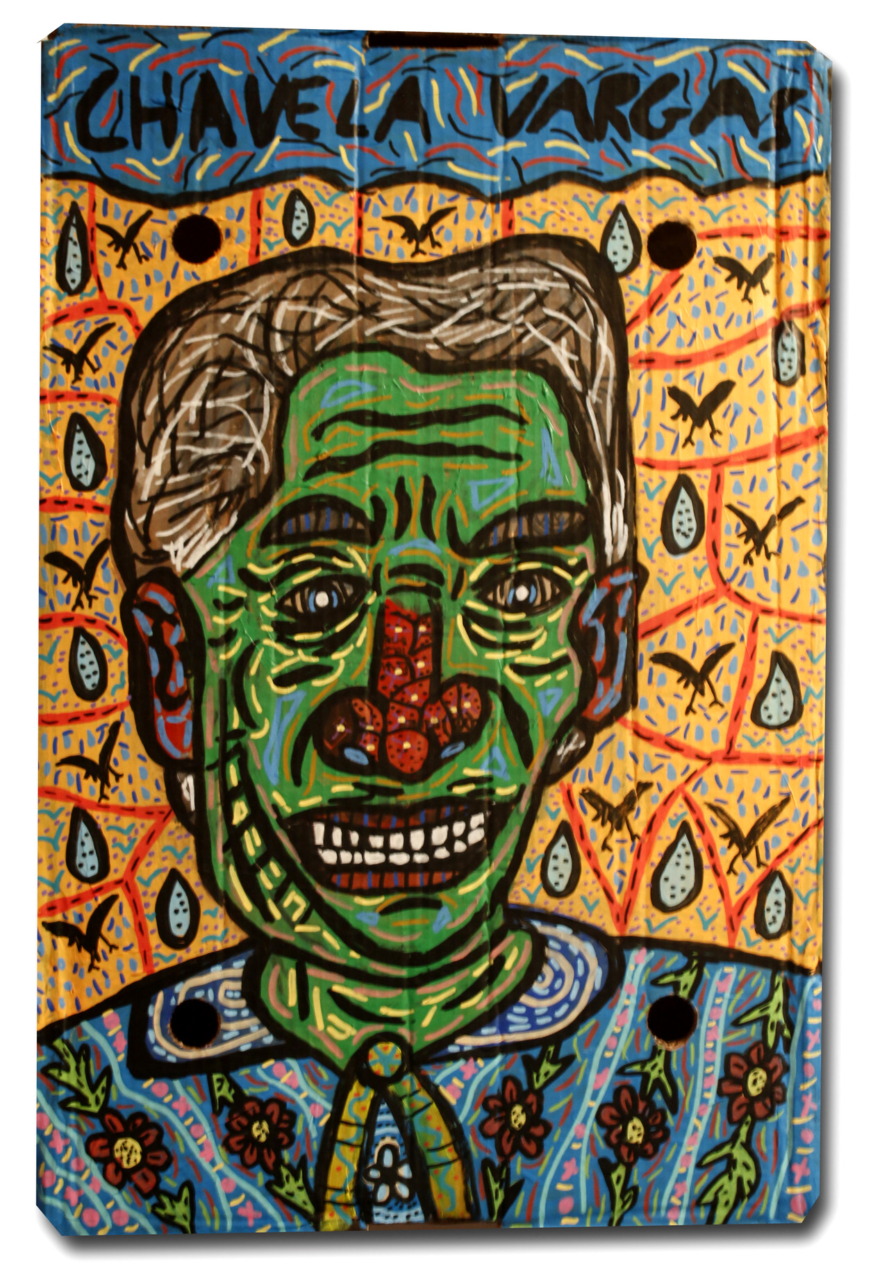 """""""Chavela Vargas"""" , 2018   Acrylic and watercolour paint and Posca marker on cardboard, 30 x 70 cm Private Collection"""