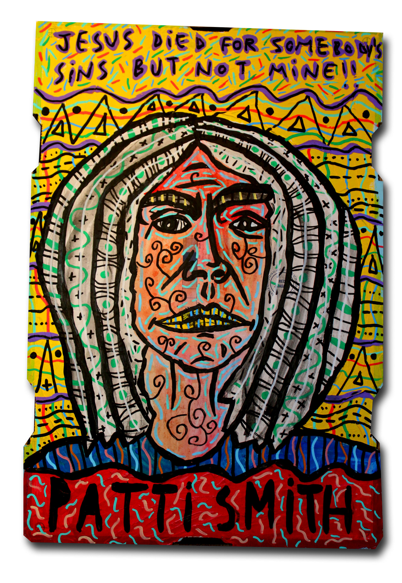 """""""Patti Smith"""" , 2018   Acrylic and Posca marker on cardboard, 30 x 70 cm Private Collection"""