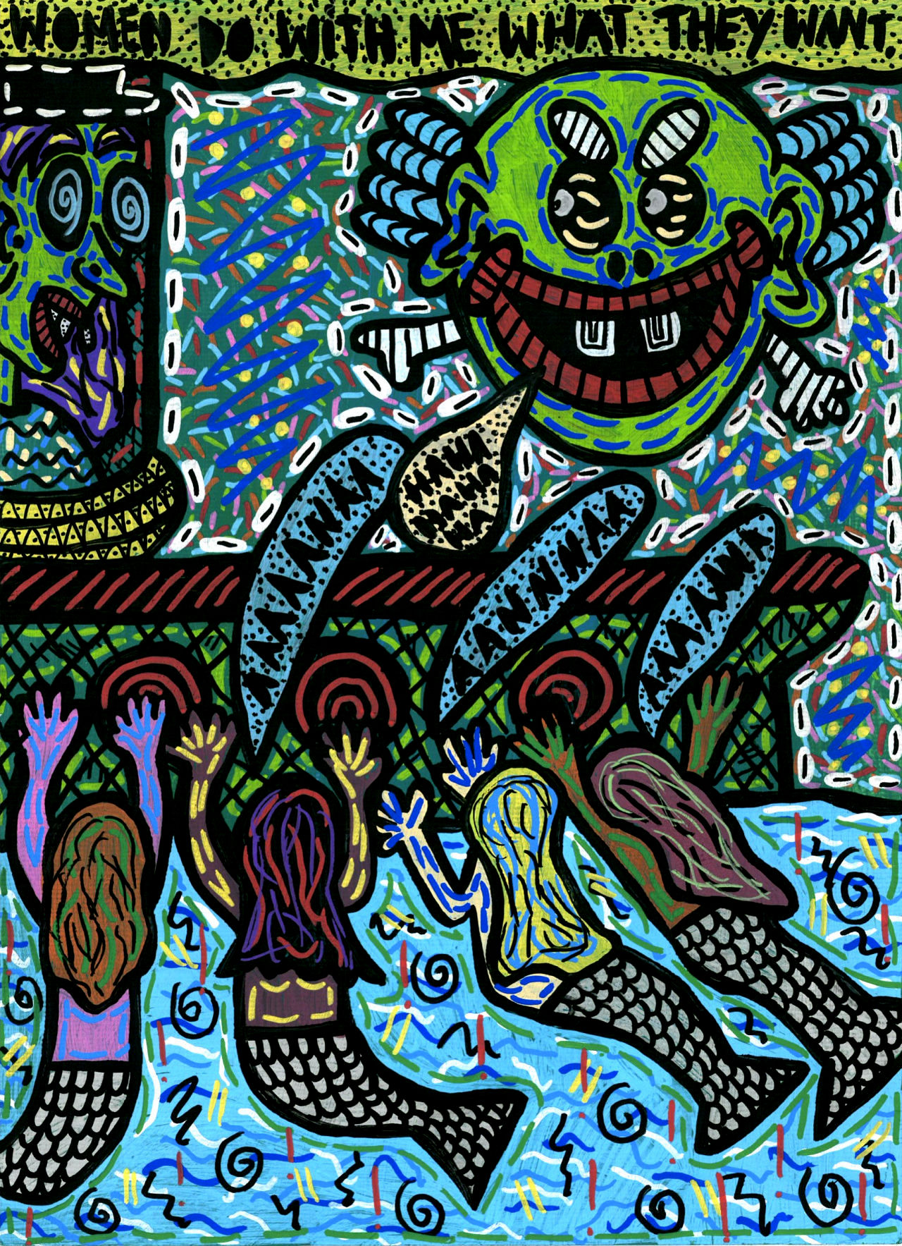 """""""Women do with me what they want"""" , 2015   Posca   marker on paper, 29.7 x 42 cm Private Collection"""
