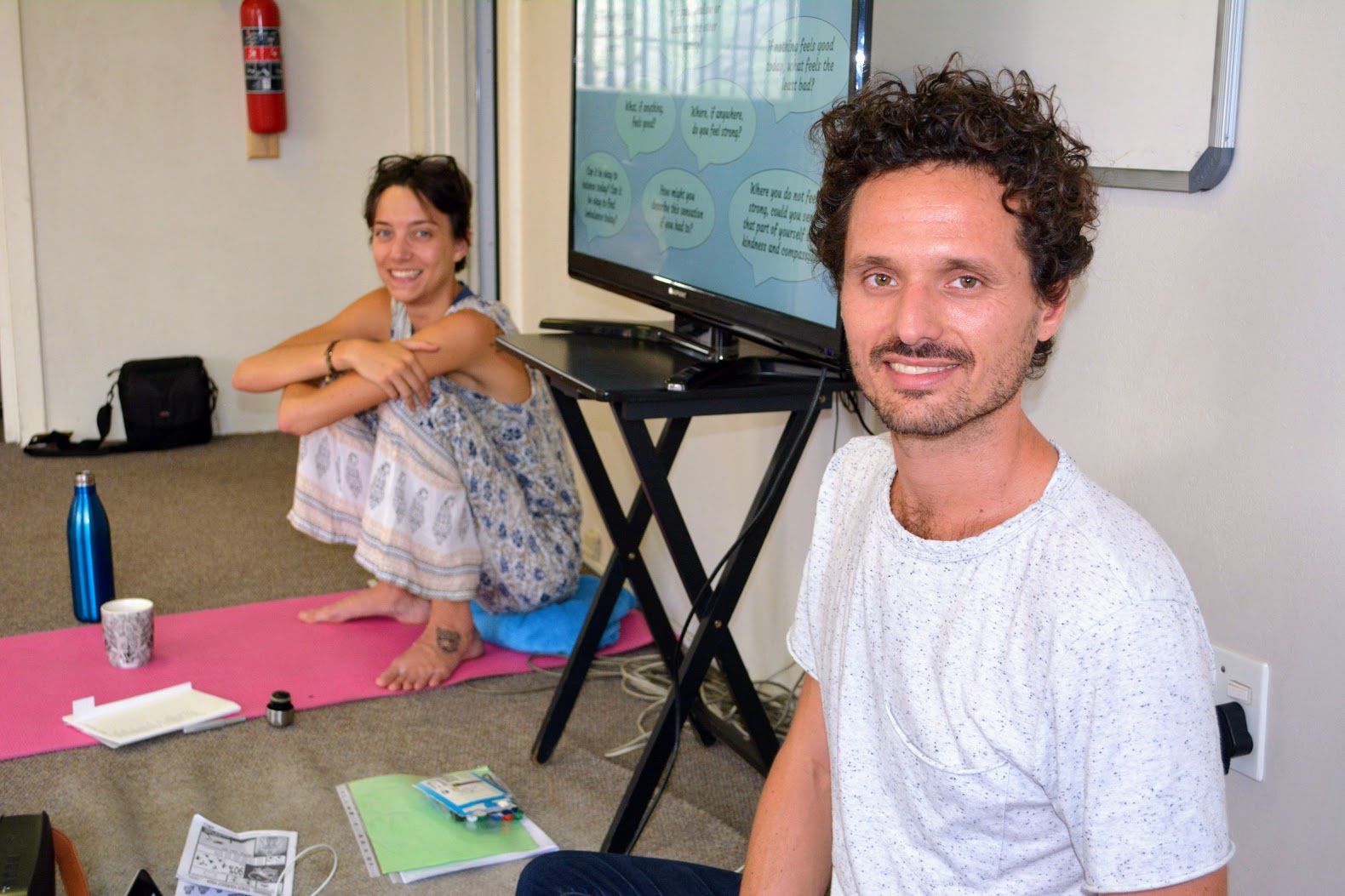 Ludovic and I facilitating a workshop on trauma-informed yoga for the 17 teachers of Yoga4Alex on March 8th in Johannesburg.