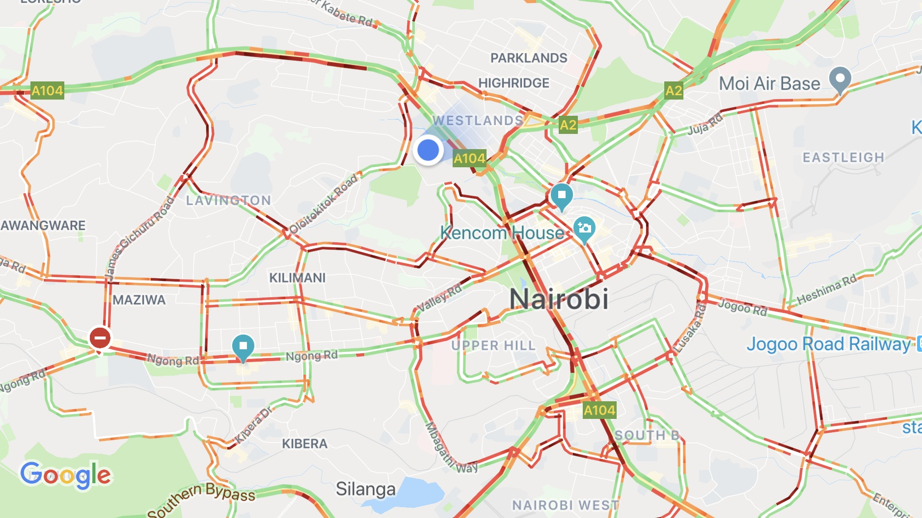La circulation de Nairobi pendant les heures de pointe...