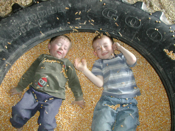 Two boys having fun in the corn house laying inside a tire