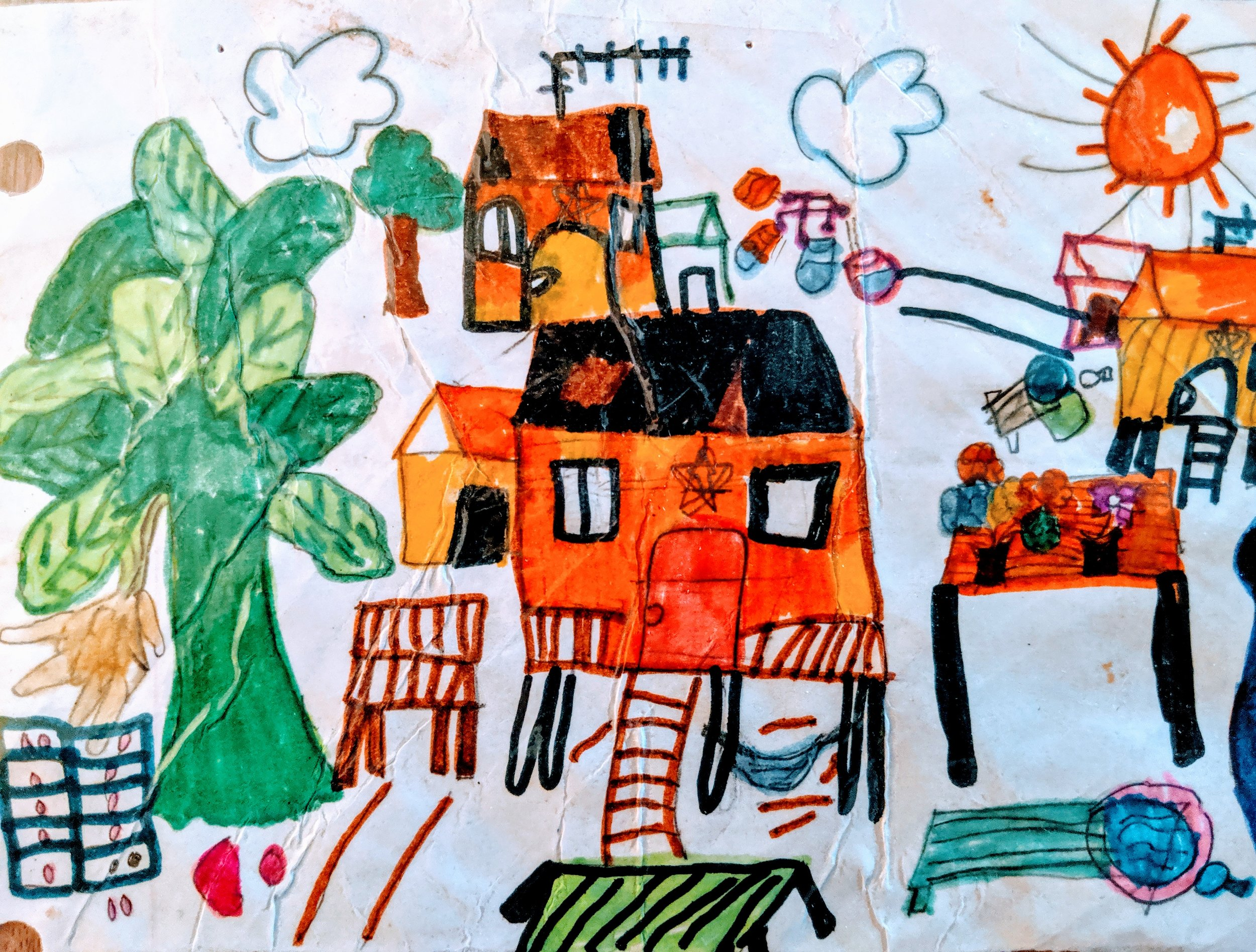 Drawing by former student Pah Leh Paw (age 9), depicting the Thai refugee camp where she grew up, after her family fled from the Karen cultural region of Myanmar Burma.