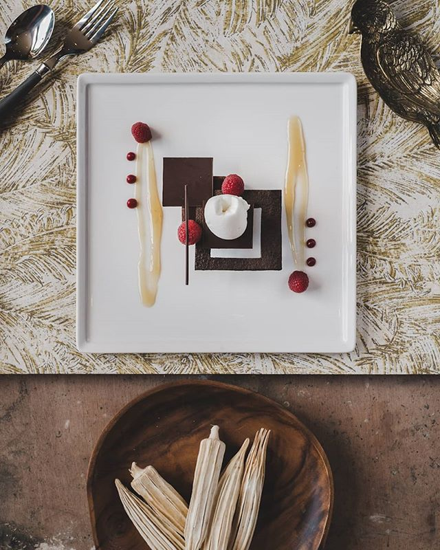 #Chocolate and #Raspberry tart with grape sorbet. The gorgeous work of @mcbride2641 at the @corinthiapalace. Props by @loftmalta shot for @vamp_magazine_malta . . . . #foodphotography #foodstyling #foodart #culinaryart #food #chefsofinstagram  #foodporn  #toniolombardiphotography  #foodie #topdownfood #foodeditorial #dessert #nomnom #fujixseries #lightroom