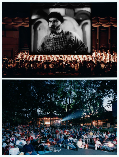 Ravinia first presented a film with live orchestral accompaniment in 1991, when  Alexander Nevsky  was shown in the Pavilion. A second screen was positioned at the back of the venue for the Lawn audience, but to show it there, the reel-to-reel film projector (housed in a rental truck) had to be positioned in the middle of the audience.
