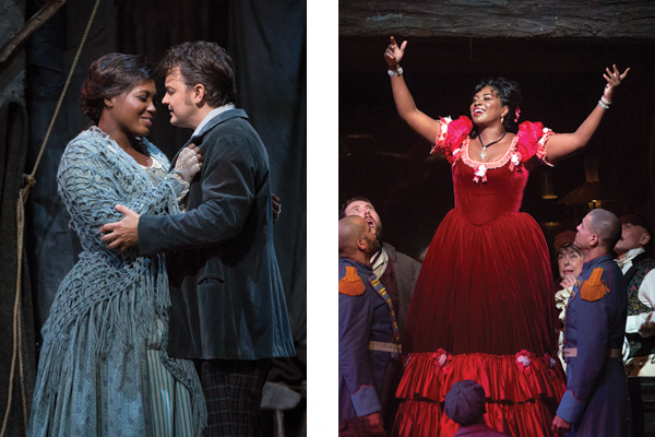 Blue made her Metropolitan Opera debut in 2017 starring as Mimì in Puccini's  La bohème  (left) and returned to the opera last year as the flirtatious Musetta (right).