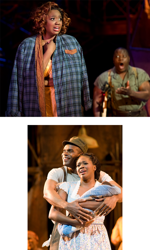 Ten years removed from her portrayal of Clara in San Francisco Opera's acclaimed broadcast presentation of  Porgy and Bess  (bottom), Blue will step into the title role in a new production at the Met this fall—its first in nearly 30 years— having starred as Bess with Seattle Opera last summer (top).