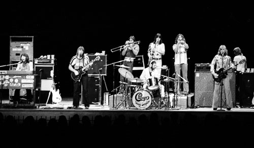 The original lineup of Chicago played a musically—and politically—charged Ravinia debut in 1972. Left to right: Robert Lamm, Terry Kath, James Pankow, Walt Parazaider, Danny Seraphine (seated), Lee Loughnane,and Peter Cetera