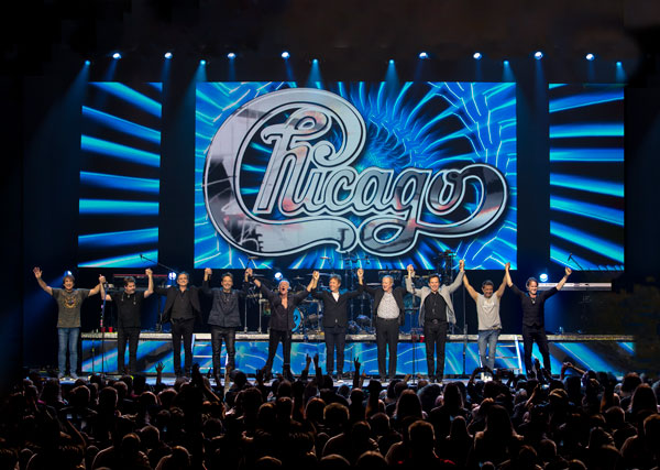 "Today's Chicago lineup: (left to right) Walfredo Reyes Jr., Keith Howland, Neil Donell, Lou Pardini, James Pankow, Robert Lamm, Lee Loughnane, Ray Herrmann, Ramon ""Ray"" Yslas, Brett Simons"