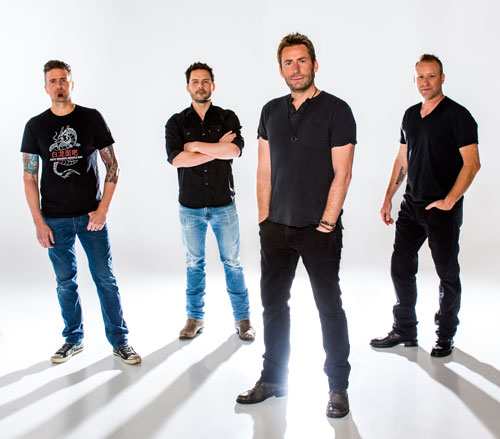 (Left to right) Daniel Adair joined Nickelback co-founders Ryan Peake, Chad Kroeger, and Mike Kroeger in early 2005, just as they began working on  All the Right Reasons , and the foursome has been all rock and no hard place ever since.