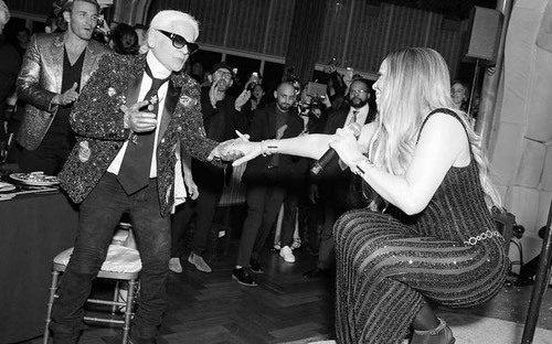 R.I.P. Mr Lagerfeld. It's a sad day for the fashion world. . 📷 @bfa at an event for the Master himself hosted by @vmagazine and performance by @mariahcarey . Production by our very own @queenadine . . . #eventlife #karllagerfeld