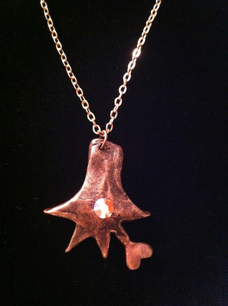 Iguana Hand with Heart Pendant (in Oxidized Copper with Crystal) $80
