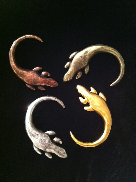 Iguana Pins (Oxidized Copper, Gold, Silver) and Gold $70 each