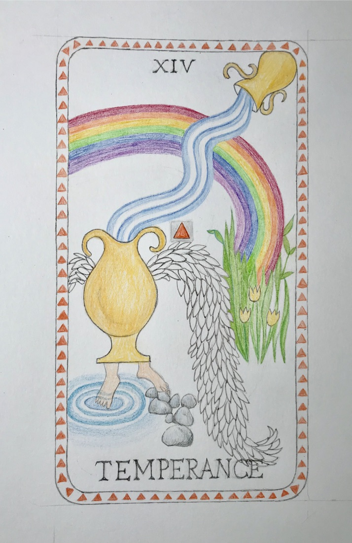 Day 24 Tarot Card drawing with colored pencils and pen.