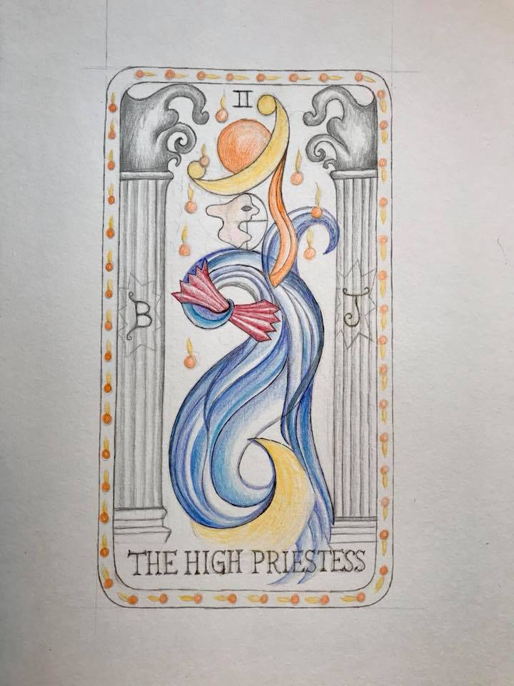 Day 37 Tarot Card colored pencil drawing.