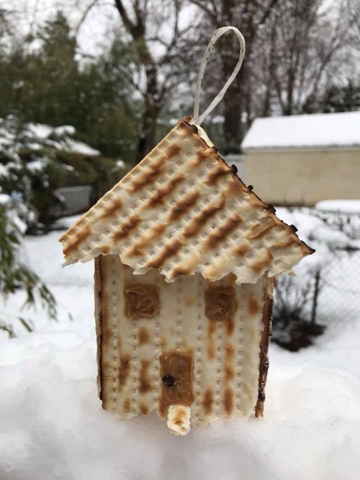 Day 92 Matzo Birdhouse with Peanut Butter Door and Windows.