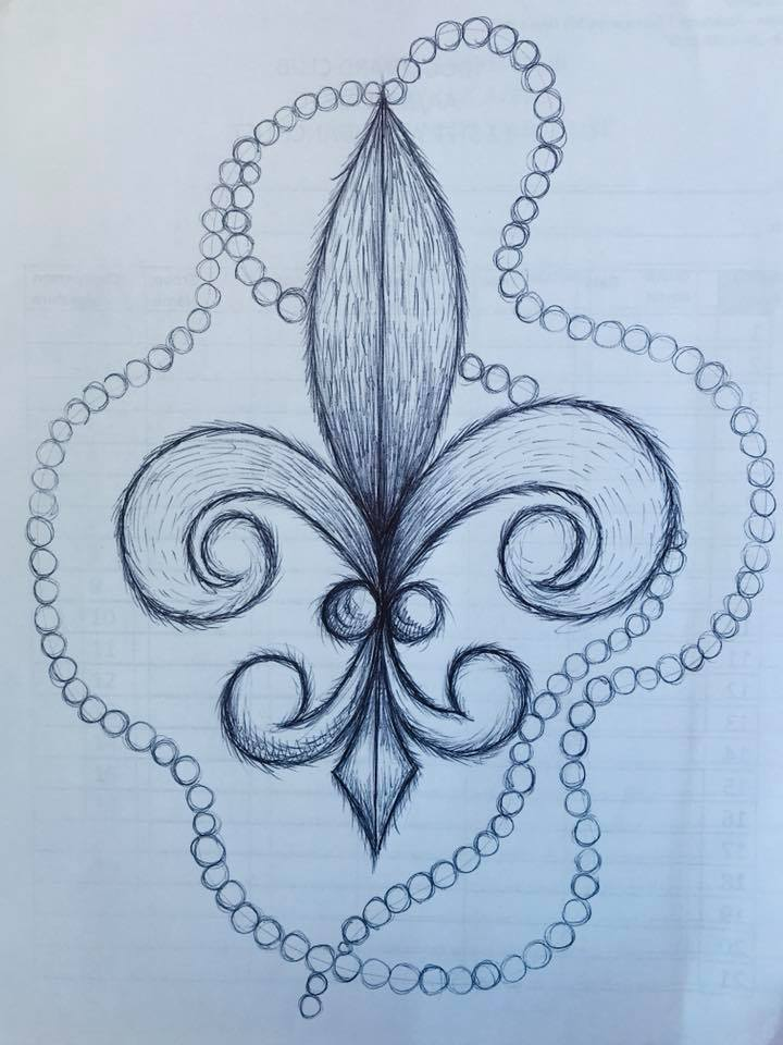 Day 122 A furry Fleur de lis with Mardi Gras beads in Ink.