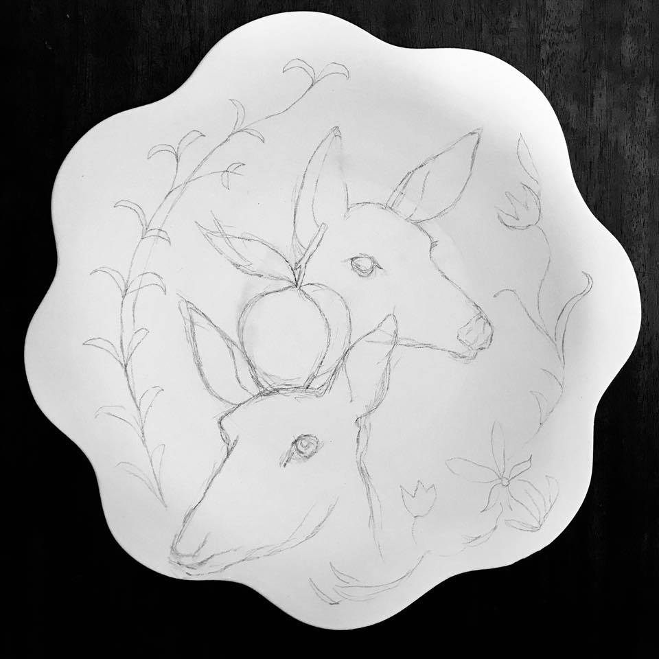 Day 199. Drawing on Bisque-ware Plate inspired by the Oregon Country Fair