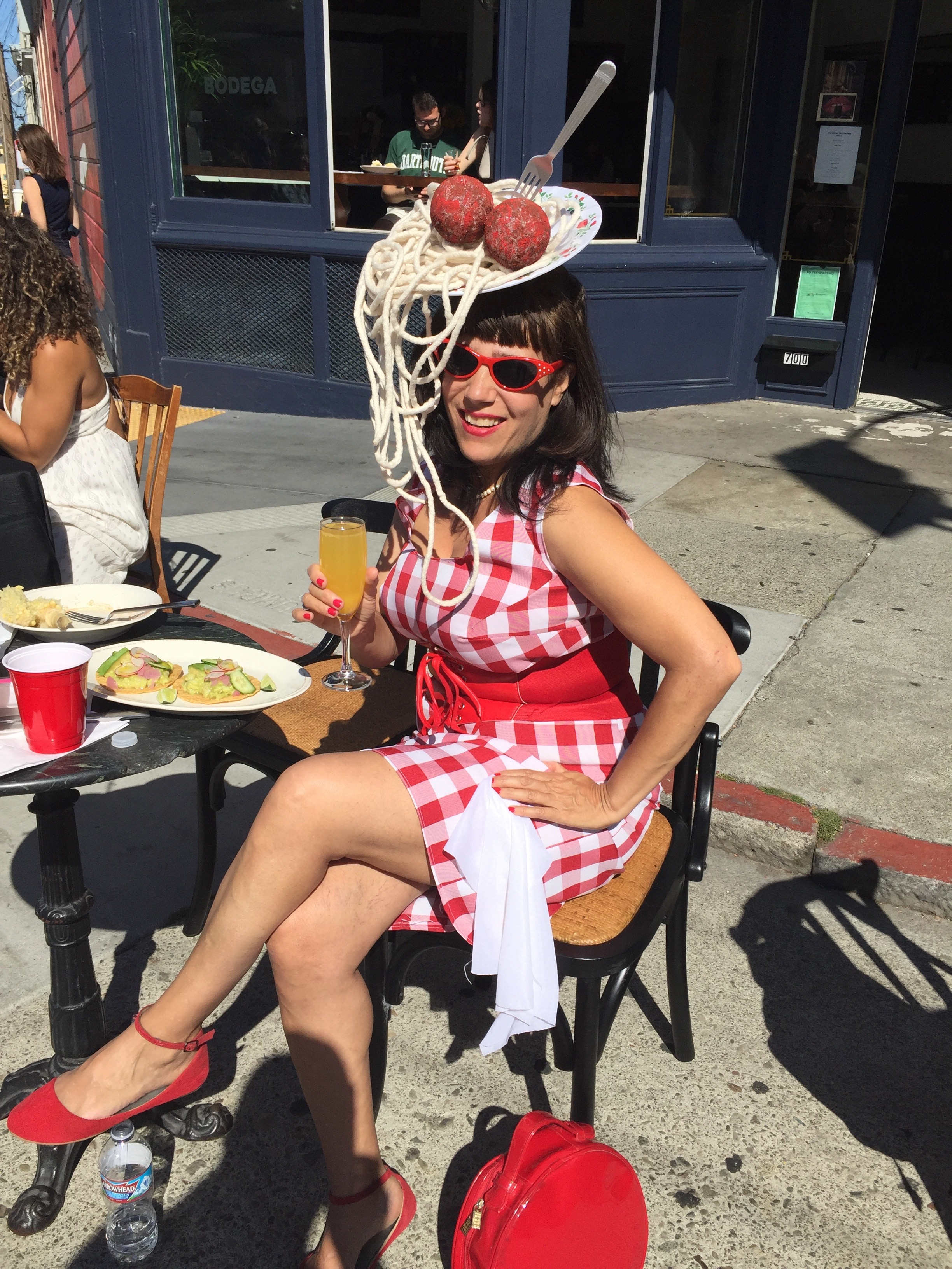 Spaghetti and Meatballs Hat with Tablecloth dress